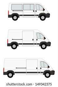 Modern van set on white background. Place for any text