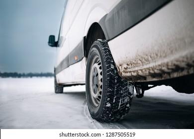 Modern van at winter