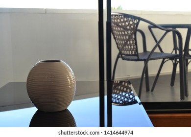modern vase on a coffee table