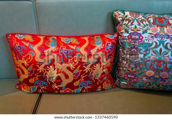Modern Velvet Pillow Fabric Cushion On Stock Photo (Edit Now ...