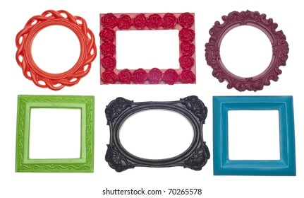 Modern Vibrant Colored Empty Frames Isolated on White with a Clipping Path.