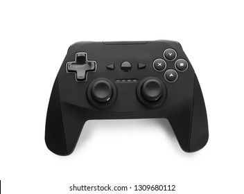 Modern video game controller isolated on white, top view
