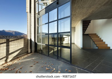 modern villa, balcony, view of the interior