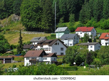 modern village on the green land