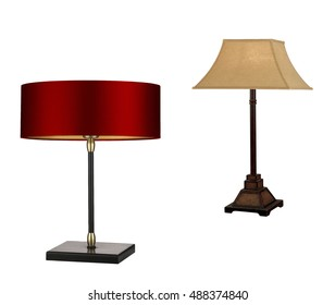 Modern and vintage lamps isolated on white background