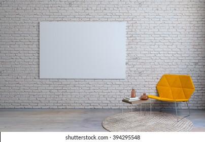 Modern vintage living room inteior brick wall 3D render
