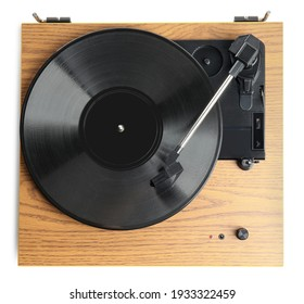 Modern vinyl record player with disc isolated on white, top view