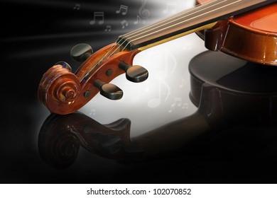 Modern violin in dark atmosphere