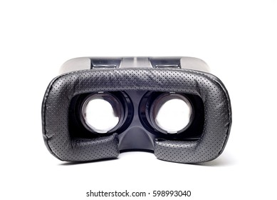 Modern Virtual Reality glasses, on white background. VR gadget concept.