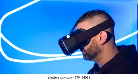 Modern virtual reality headset new wearable electronic gadget