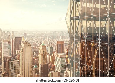 Modern vitreous skyscraper with city view background 3D Render