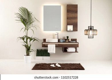 modern wall clean bathroom style and interior decorative design, modern lamp
