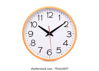 Modern wall clock isolated on white background with clipping path