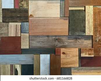 Modern Wall of Wood Scraps (made from a variety of wood)