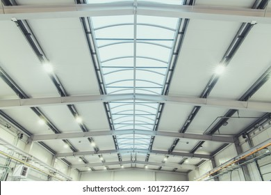 Modern Warehouse Construction. Warehouse Roof with Large Skylight.