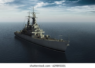Modern Warship In High Seas. 3D Illustration.