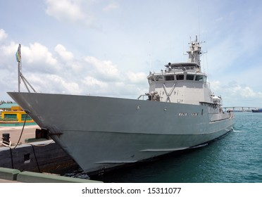 Modern warship visiting the port of Nassau, Bahamas