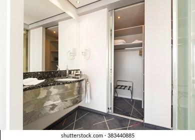 Modern washbasin in hotel apartment