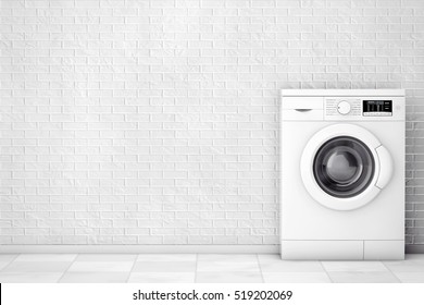 Modern Washing Machine in front of brick wall. 3d Rendering