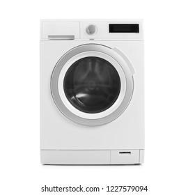 Modern washing machine on white background. Laundry day
