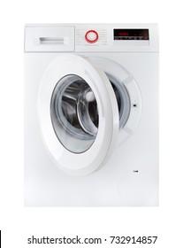 modern washing machine, open, isolated on white bakcground