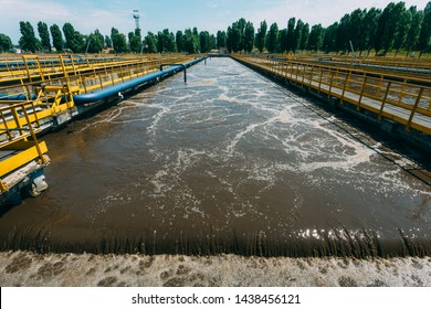 Modern wastewater treatment plant. Tanks for aeration and biological purification of sewage by using active sludge