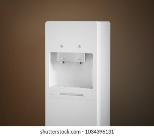 Modern water cooler on color background