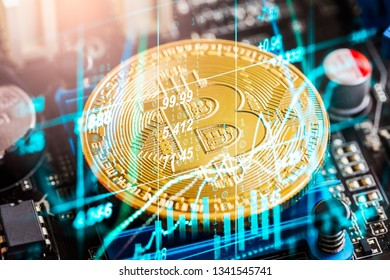 Modern way of exchange. Bitcoin is convenient payment in global economy market. Virtual digital currency and financial investment trade concept. Abstract cryptocurrency with gold bitcoin background.