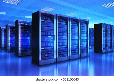 Modern web network and internet telecommunication technology, big data storage and cloud computing computer service business concept: 3D render of the server room interior in datacenter in blue light