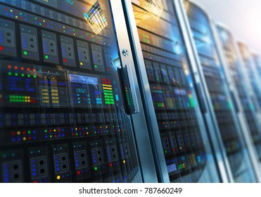 Modern web network and internet telecommunication technology, big data storage and cloud computing computer service business concept: 3D render of the macro view of server room interior in datacenter