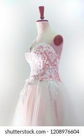 Modern wedding dress on mannequin