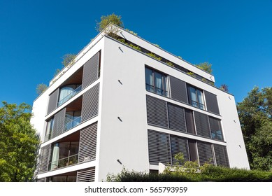 Modern white apartment house seen in Berlin, Germany