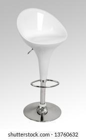 A modern white bar stool