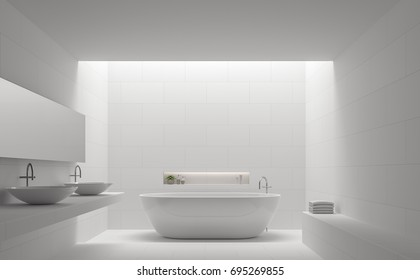 Modern white bathroom interior minimal style 3d rendering image.There are white tile with brick pattern on walls and floor,there is natural light shining down from above.