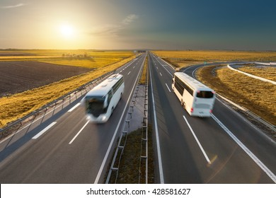Modern white buses driving in speed blurred motion on the freeway at beautiful sunset. Transport and travel scene on the motorway near Belgrade, Serbia.