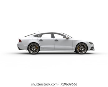 Modern white business car - side view - 3D Illustration
