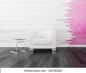 Modern white chair against pink wall