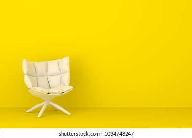 Modern white chair in yellow living room. Minimal style concept. pastel color style.