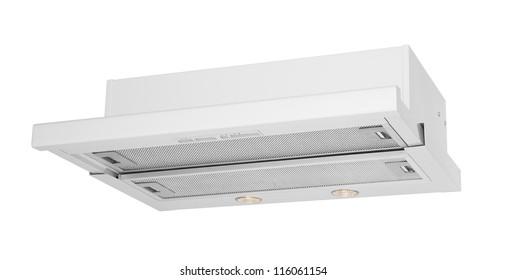 Modern white cooker hood isolated on white