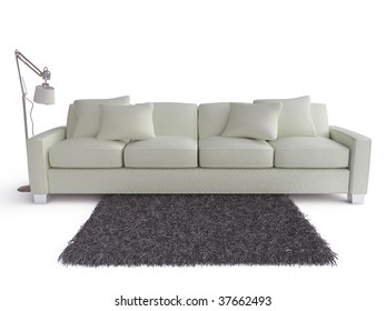 modern white couch with carpet and lamp - isolated on white