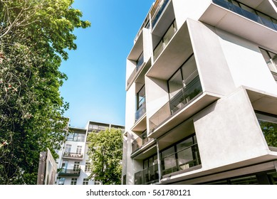 modern white cubic apartment architecture in Berlin