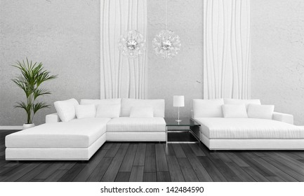 Modern white design couch with flower