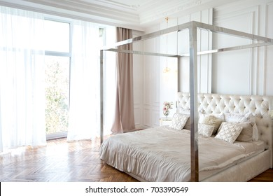 Modern white design interior in classical style of a spacious studio apartment with a huge four & Four Poster Bed Images Stock Photos \u0026 Vectors | Shutterstock