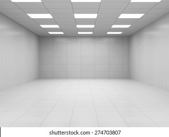 Modern White Empty Business Room 3D Interior. 3D Rendering
