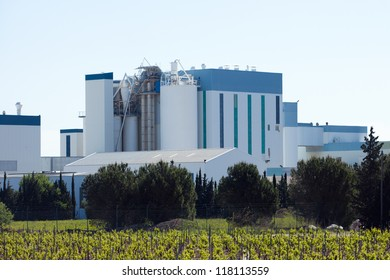 Modern white factory building complex