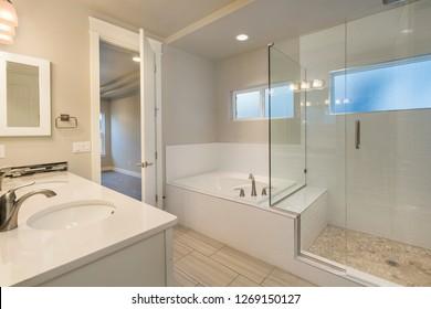 Modern White Farm House Bathroom