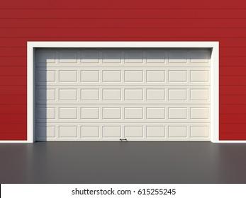 Modern white garage door on red wall 3D render