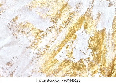 Modern White And Gold Acrylic Textured, Unique Background, Brush And Paint, Hand Painted Texture, Space For Copy