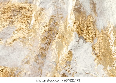 Modern White And Gold Brush Painted Background Texture, Unique Artistic Work