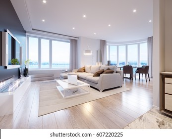 Modern white gray living room interior design with big windows and beautiful sea and mountain views. 3d rendering